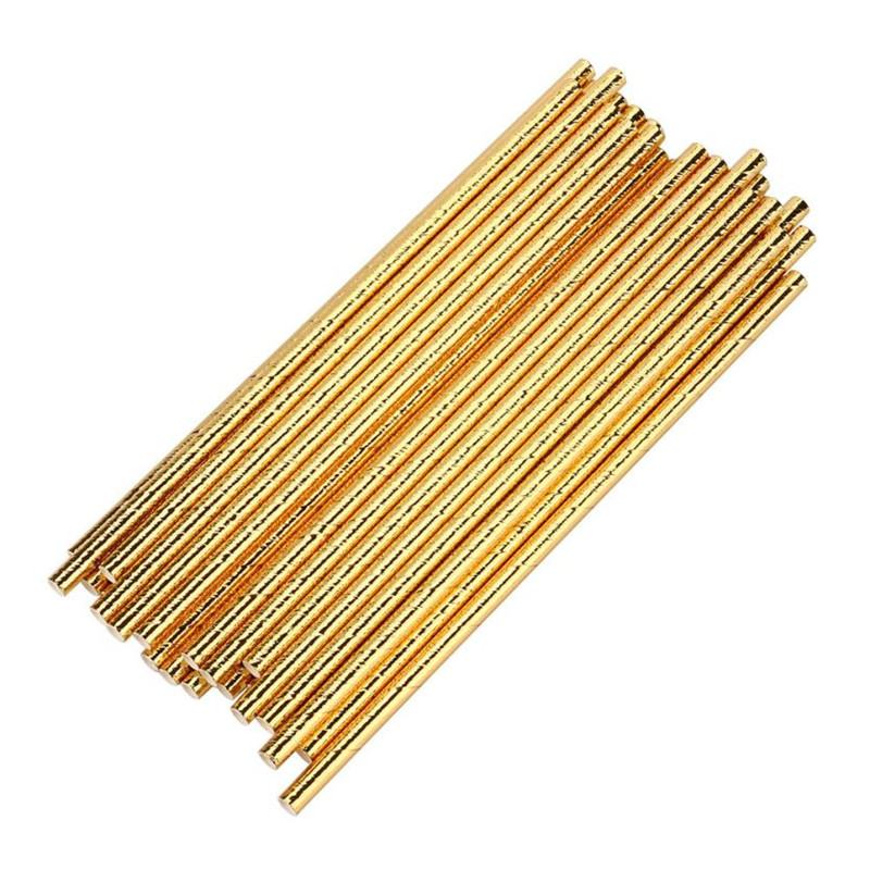 25pcs Lot Gold Foil paper drinking straw Classic wedding/birthay party drink sucker Classic gold suction tubes drop shipping