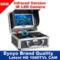 "Free Shipping!Eyoyo 50M 1000TVL Fish Finder Underwater Video Camera 7"" Monitor Anti Sunshine Shielf Sunvisor Infrared IR LED"