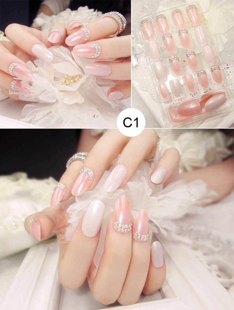 High quality gel Fake Nail fashion plane printing,with Pearl and ...