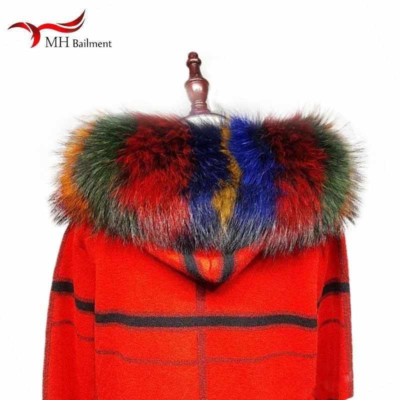 Модный Дикий Горячий шарф, шаль, Зимняя Новая меховая шапка и воротник, натуральный мех енота, воротник, шарф, набор для женщин и мужчин