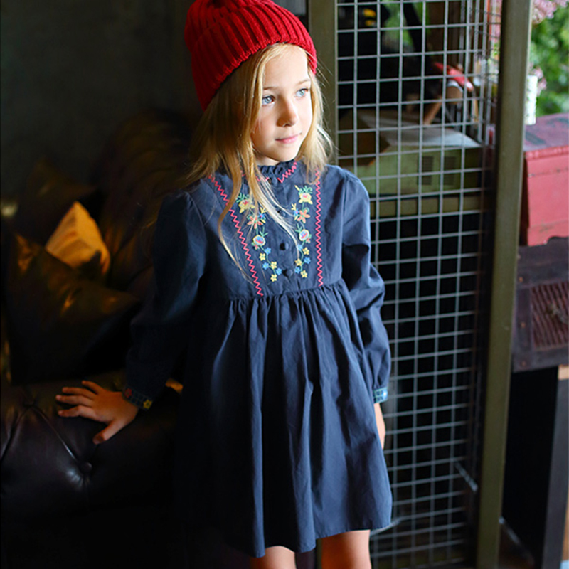 Toddler Girl Dresses Autumn Winter 2017 Brand Princess Dress with Embroidery Long Sleeve Kids Dresses for Girls Clothes Children fashion 2016 new autumn girls dress cartoon kids dresses long sleeve princess girl clothes for 2 7y children party striped dress