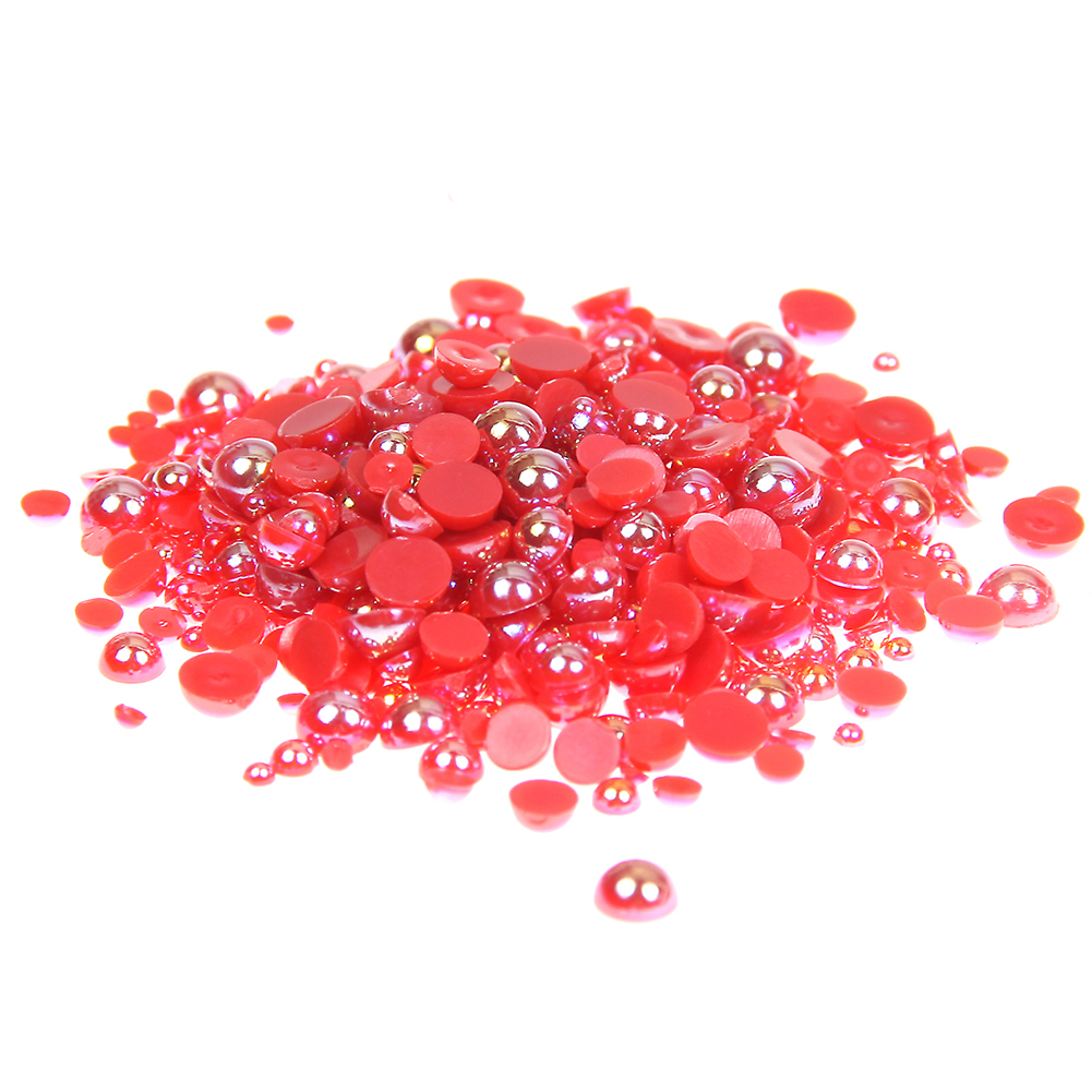 1.5-10mm Red AB Half Round Craft ABS Resin Pearls Flatback Glue On Beads Gems Appliques For Clothing Bags Shoes DIY Decorations resin rhinestones pink ab color 2mm 6mm 10000 50000pcs round flatback glue on strass beads for jewelry making diy decorations