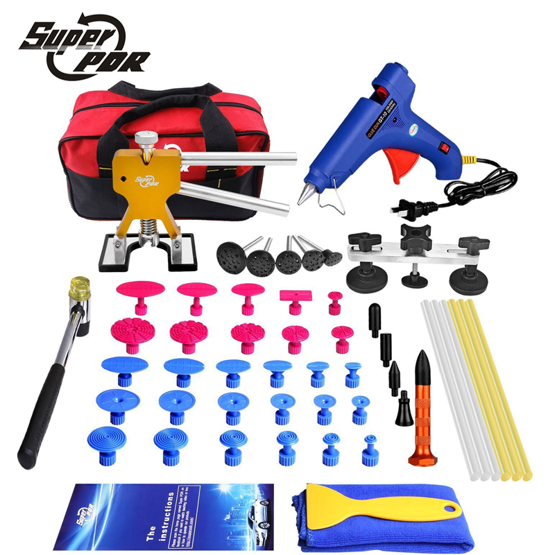 Super pdr car body dent removal tool set dent lifter pdr pulling bridge glue tabs glue gun glue sticks set rubber hammer toolbag super pdr slide hammer glue gun glue sticks dent repair tools dent lifter car dent removal tool set 29pcs