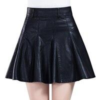 Couro curto feminino saia 2015 saia de cintura alta de couro pequena outono e inverno espessamento busto calças saia PU saia plissada