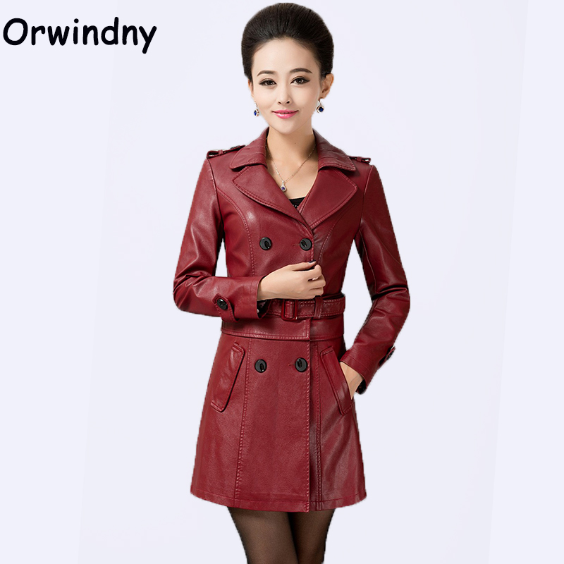 Orwindny New Women Long Coat   Leather   Plus Size Feminino Long   Leather   Trench High Street Turn-down Collar   Suede   Jackets
