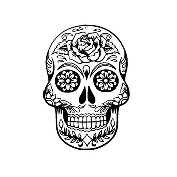 10.5*15.2CM Funny Car Stickers Flower Skulls Interesting Vinyl Car Decorative Accessories Black/Silver C7-1090 image