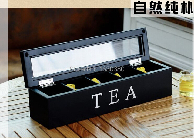 New Coming Large Black Tea Storage Box Lacquer Wooden Storage Classic Food Storage  Box 36.5cm