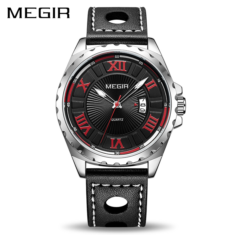 MEGIR Creative Fashion Quartz Sport Watch Men Black PU Strap Wristwatch Clock Hour Army Military Wrist Watches Relogio Masculino megir watch luxury quartz men wristwatch stainless steel strap band hour time clock casual male man sport army military watches