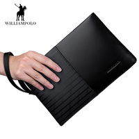 2017 New High Capacity France Famous Brand Genuine Leather Wallet For Men IPad Case Clutch Wallet