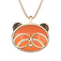 Orange Opal Panda Pendant Dài Áo Len Chuỗi Vòng Cổ Big Đá Unisex Đảng Masquerade Cocktail Jewelry New Hot Bán Vòng C