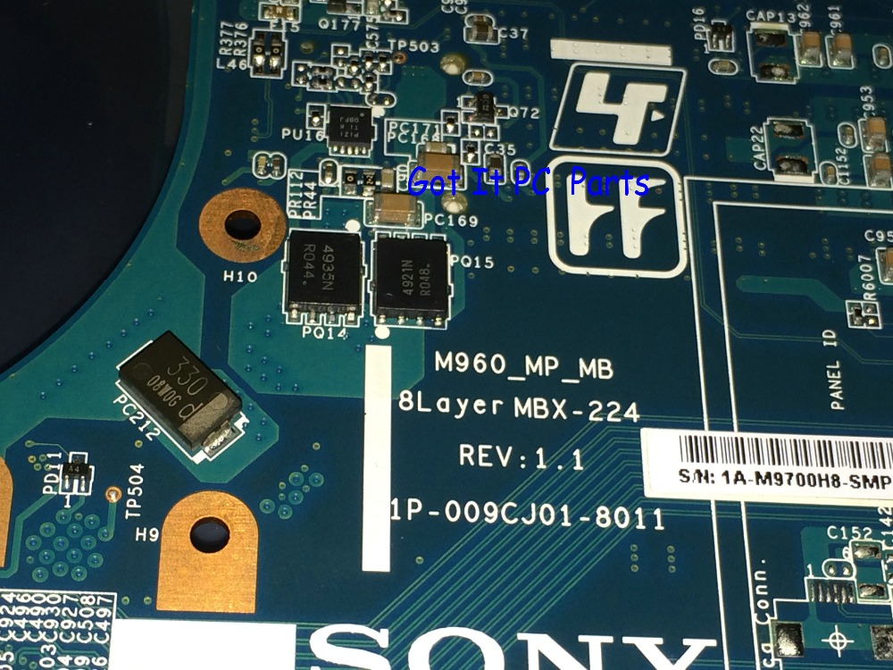 Part Number A1771575A MBX 224 M960 REV 1 1 Free Shipping NEW laptop motherboard For Sony