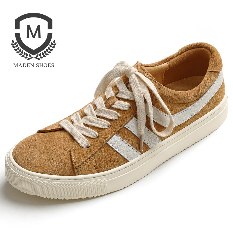 Maden Cow Suede Men Sneakers Split Leather Casual Shoes Stripe Yellow Sand Anti-slip Soft Sole Sporty England Korea All-matching