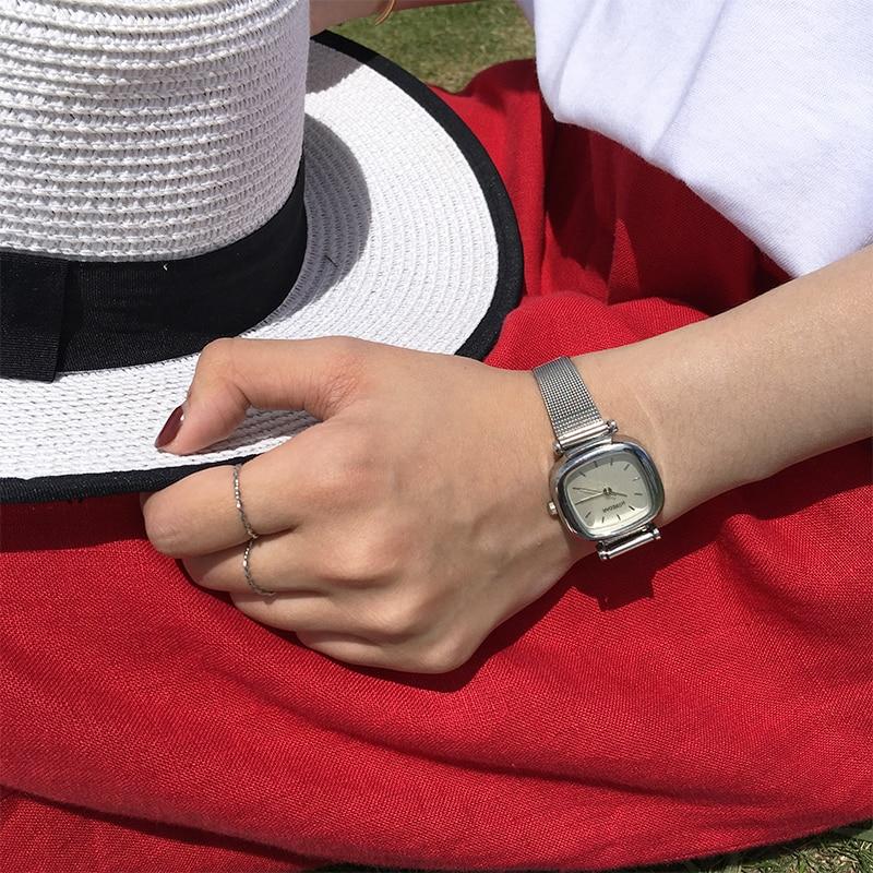 HOREDAR Simple Steel Mesh Women Watches 2017 Fashion Square Ladies Wrist Watch Female Gift Wristwatch Relojes
