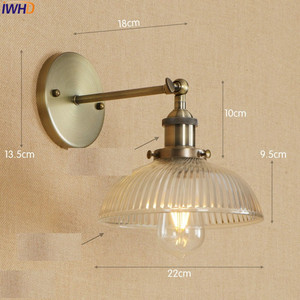 Image 2 - アンティーク真鍮の壁照明器具ガラス産業の横にスイングアームヴィンテージ壁灯燭台ランプ lamparas デ · パレー