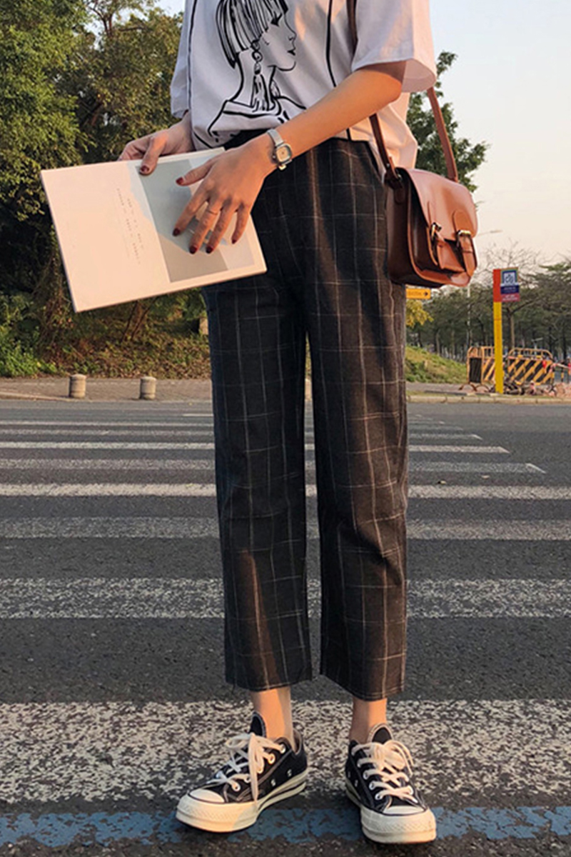 office lady style 2018 summer new fashion high pure color patchwork plaid print elastic waist drawstring long straight pants 12