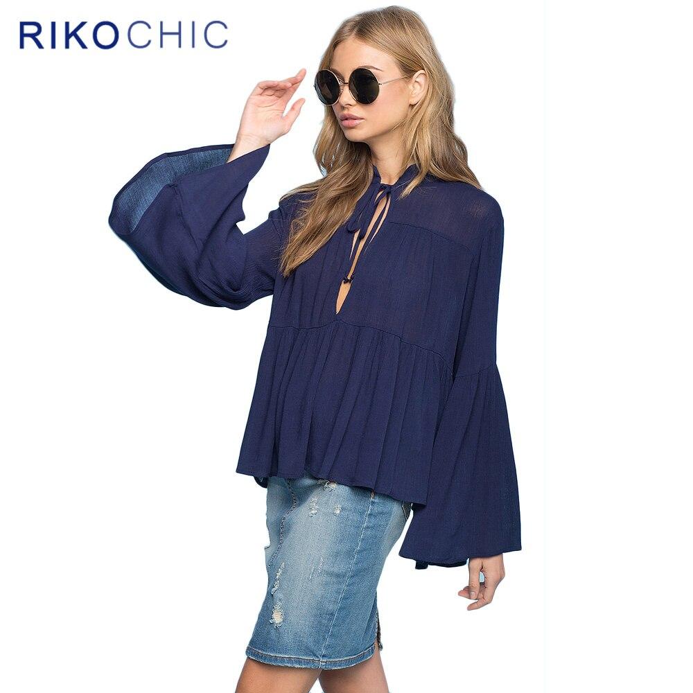 nuevo otoño de la vendimia de largo muchachas de la manga flare blusa camisas m