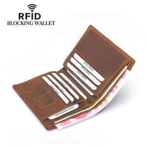 Image 5 - Genuine Cowhide Leather Money Clip Wallet Men RFID Blocking Purse Crazy Horse Leather Short Wallets Trifold Clutch for Man FM101