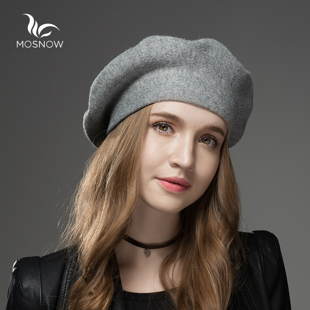 MOSNOW Winter Hat Berets 2018 New Wool Cashmere Womens Warm Brand Casual  High Quality Women s Vogue 49f18e58406