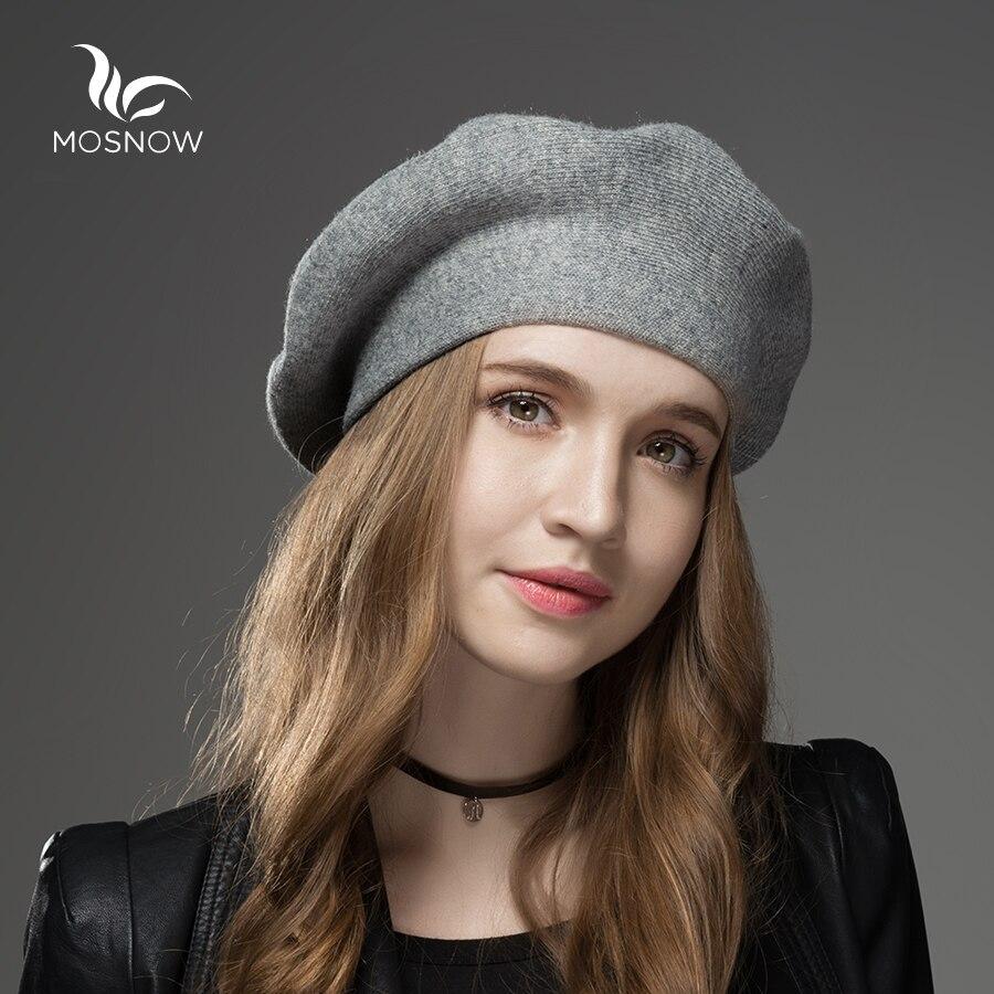 MOSNOW Winter Hut Berets 2018 Neue Wolle Cashmere Womens Warm Marke Casual Hohe Qualität frauen Vogue Gestrickte Hüte Für mädchen Kappe