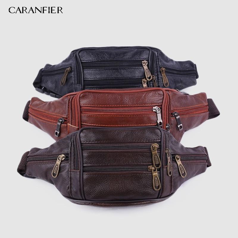 CARANFIER 5PCS Brand Fashion Men Genuine Leather Waist Packs Men Organizer Travel Waist Pack Necessity Waist Belt Mobile  Bag