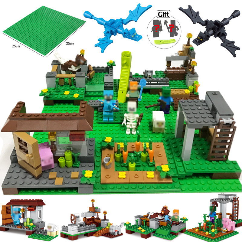 390pcs 4in1 My World Steve Farm Dragon building blocks compatible legoed minecrafted city action figure Enlighten children toys decool 3117 city creator 3 in 1 vacation getaways model building blocks enlighten diy figure toys for children compatible legoe