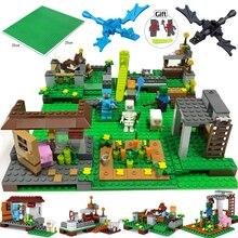 ФОТО 390pcs 4in1 my world steve farm dragon building blocks compatible legoed minecrafted city action figure enlighten children toys