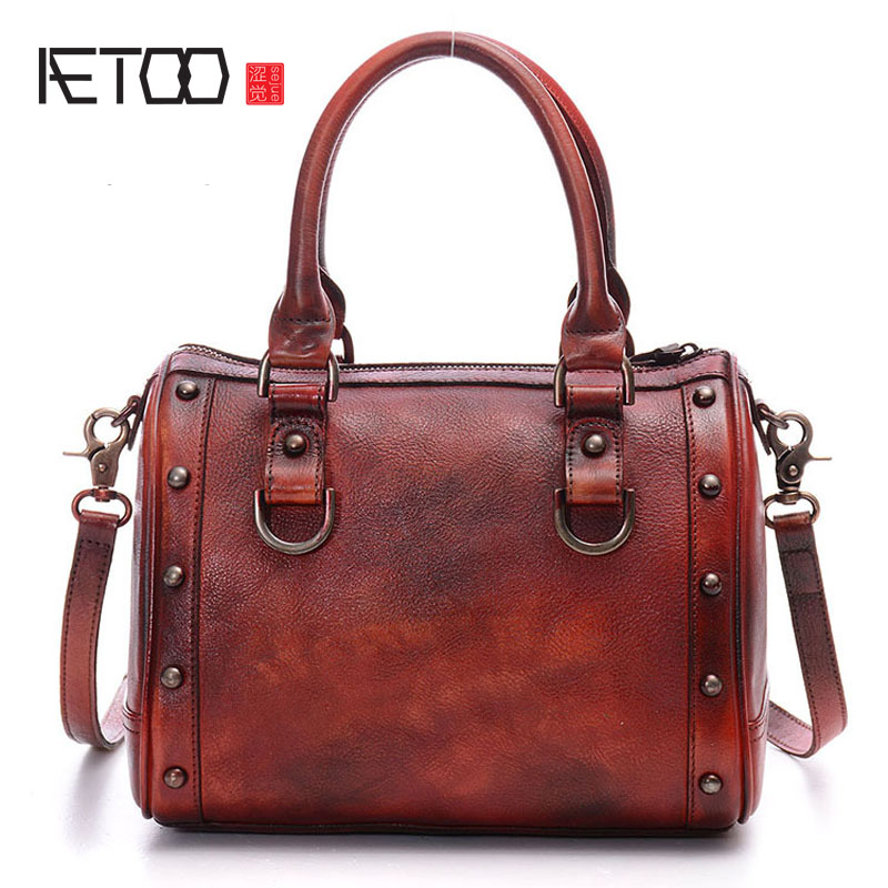AETOO Europe and the United women States retro multi-color single-sided backpack hand-made handbag europe and the united states new handsome british wind pointed thick boots snake belt buckle especially exquisite single boot