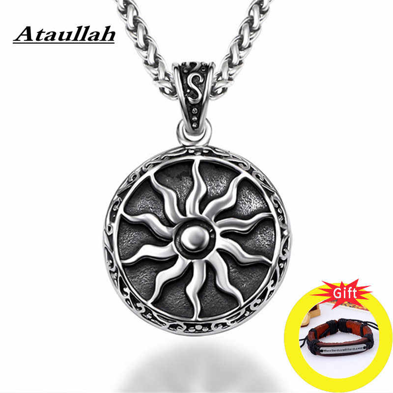 Ataullah Gothic symbol of the God Yarila Sun Slavic Necklace Charm Amulet Pendant Vintage Antique Silver Pagan Jewelry NW042
