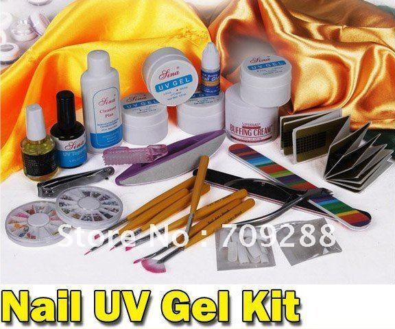 Free Shipping Professional Nail Art Kit Color Uv Gel Full: Freeshipping DIY Supplies Nail Art Professional UV GEL