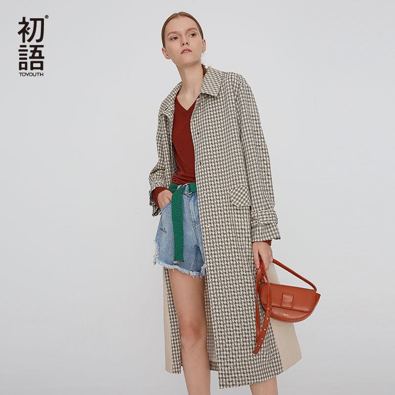 Toyouth Autumn Plaid Trench Coat For Women Turn Down Collar Pocket Long Coat Korean Long Sleeve