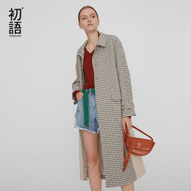 Toyouth Autumn Plaid Trench Coat For Women Turn Down Collar Pocket Long Coat Korean Long Sleeve Striped Plus Size Coat