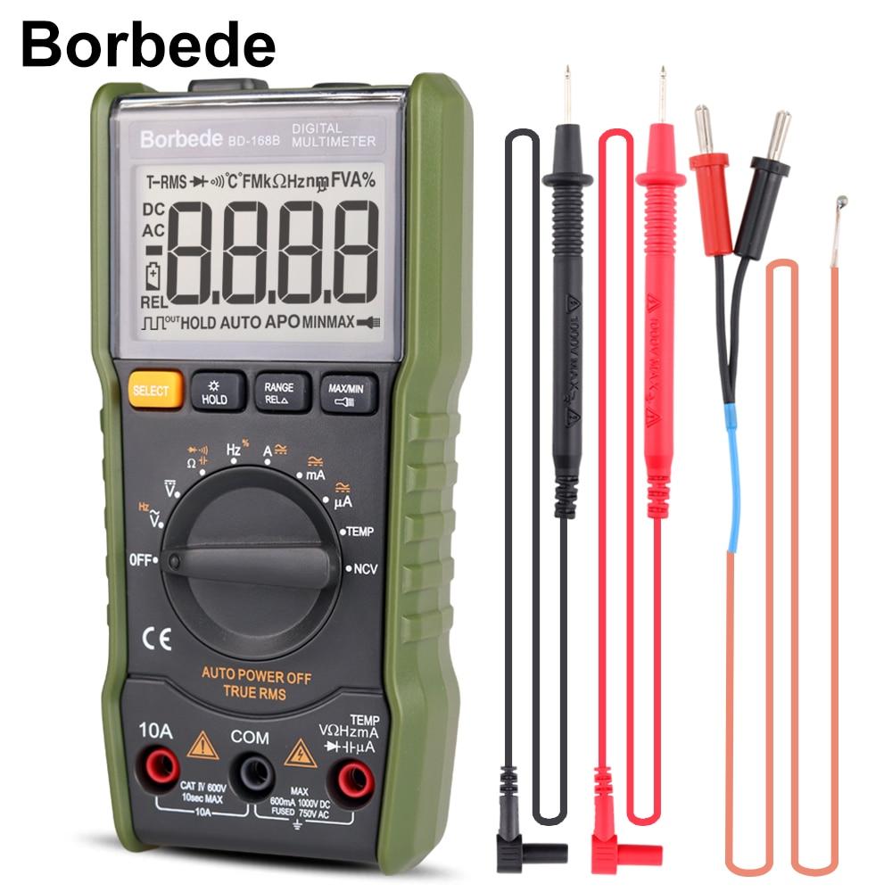 Borbede 168B Digital Multimeter 6000 count DC AC Voltage Current Capacitance Resistance Temperature NCV True RMS Mini Tester