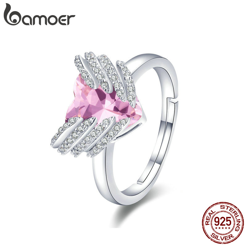 BAMOER Authentic 925 Sterling Silver Guardian Heart Angel Wings Finger Rings for Women Wedding Engagement Ring Jewelry BSR014 mariposa en plata anillo
