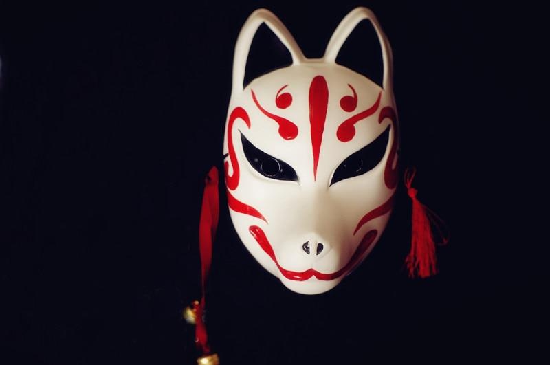 hand painted full face japanese style pvc fox kitsune. Black Bedroom Furniture Sets. Home Design Ideas