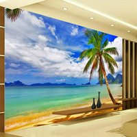 HD Seaside Landscape Palm Beach Photo Mural Wallpaper 3D Living Room TV Sofa Bedroom Background Wall