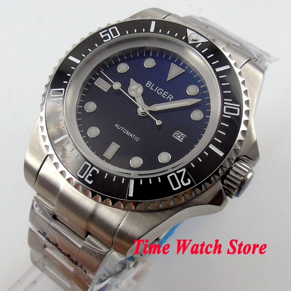 Bliger 44mm gradient color dial luminous ceramic bezel automatic movement men 39 s watch in for Gradient dial watch