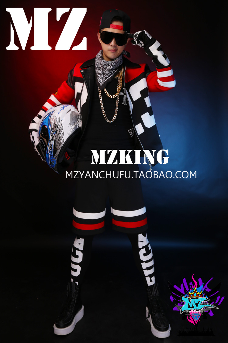 GD Bigbang Men Red White Black Cloth Leather Stitching Motorcycle Jacket stage Costumes Singers DJ Stage short jacket ! S-5XL