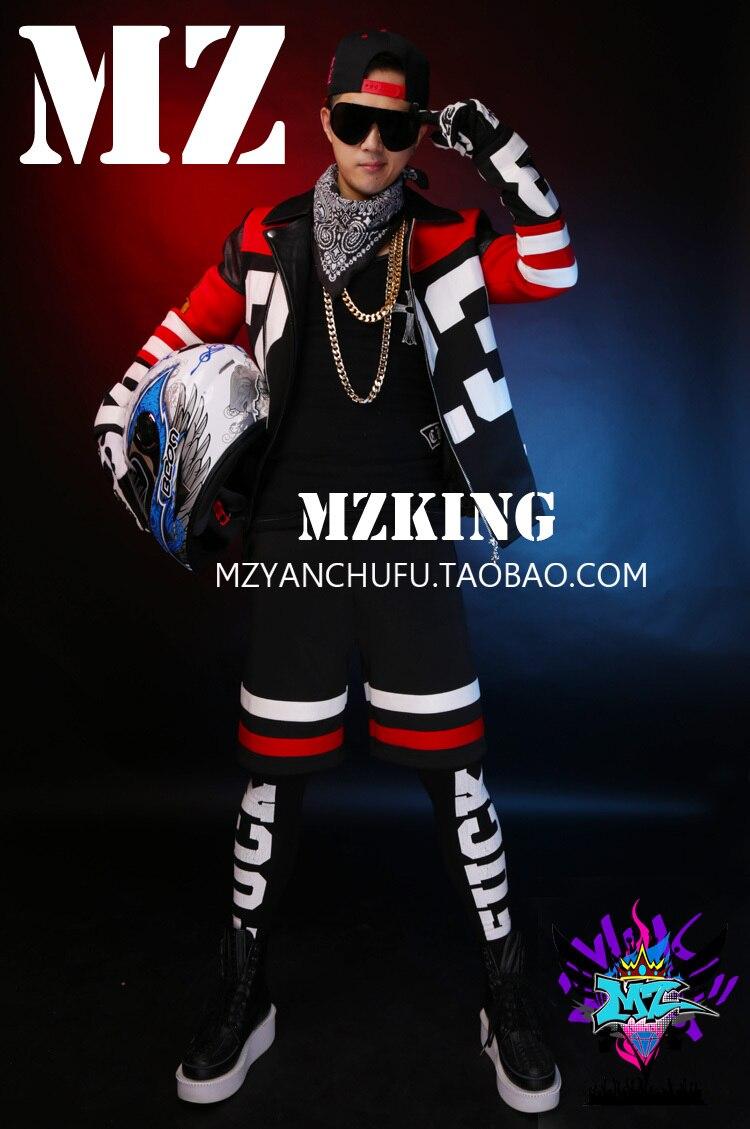 GD Bigbang hommes rouge blanc noir tissu cuir couture moto veste scène Costumes chanteurs DJ scène veste courte! S-5XL