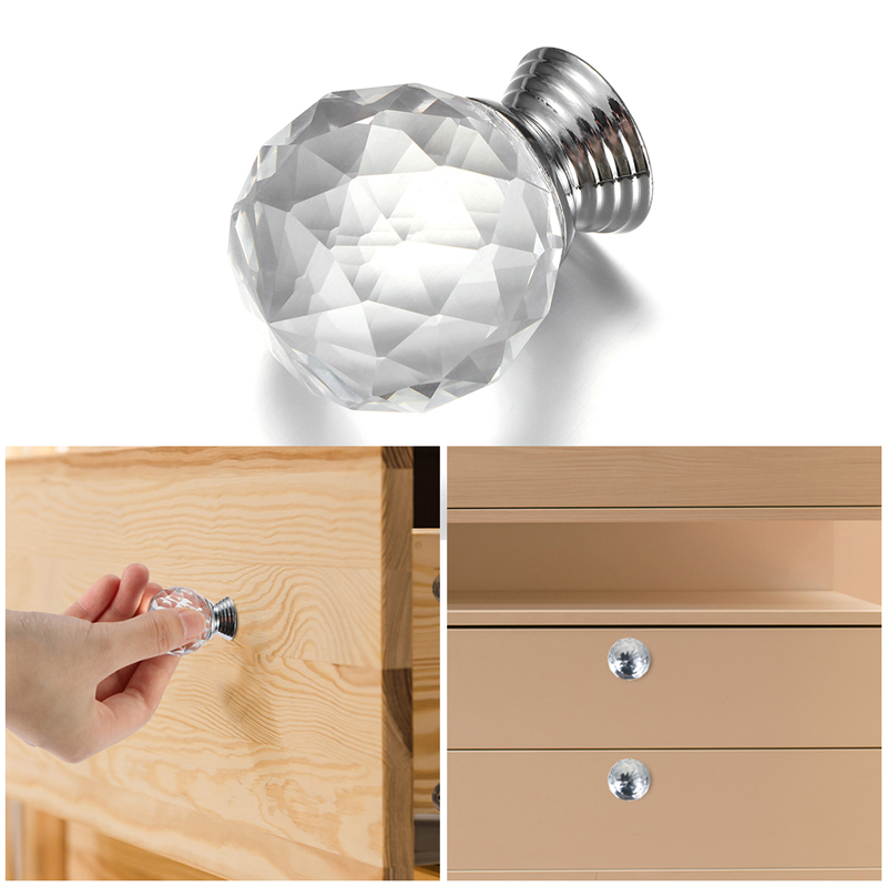 10 Pcs 30mm Crystal Glass Clear Cabinet Knob Drawer Pull