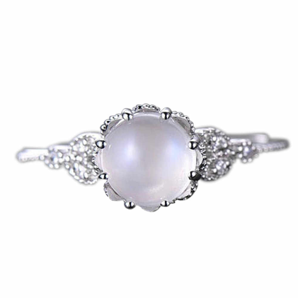 Kualitas Tinggi Batu Bulan Bertatahkan Cincin Bera Cincin Pertunangan Cincin Pasangan Cincin Perhiasan Aksesoris Cincin * 30 Dropshipping