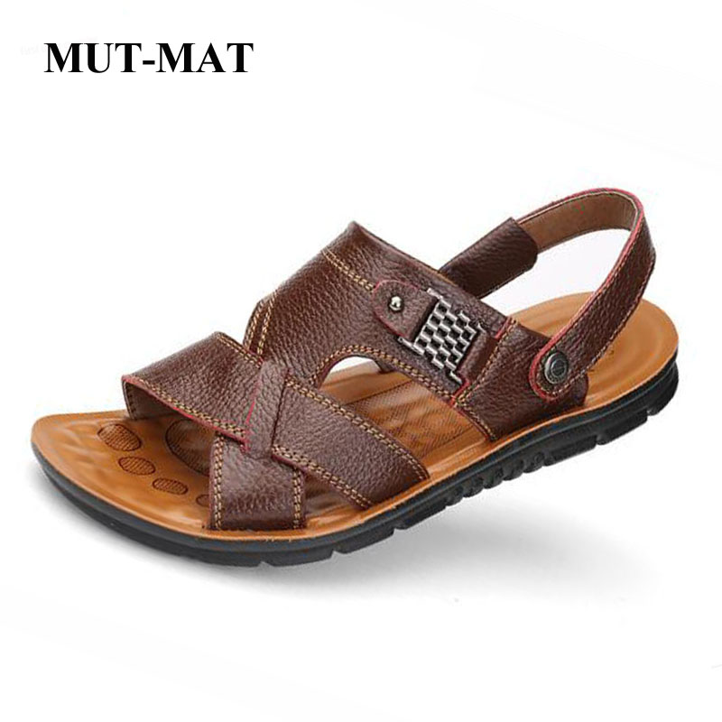 2019 New Summer Genuine Leather Men's Casual Sandals Classic Beach Male's Slippers With Metal Decoration Large Size 38-48 Shoes