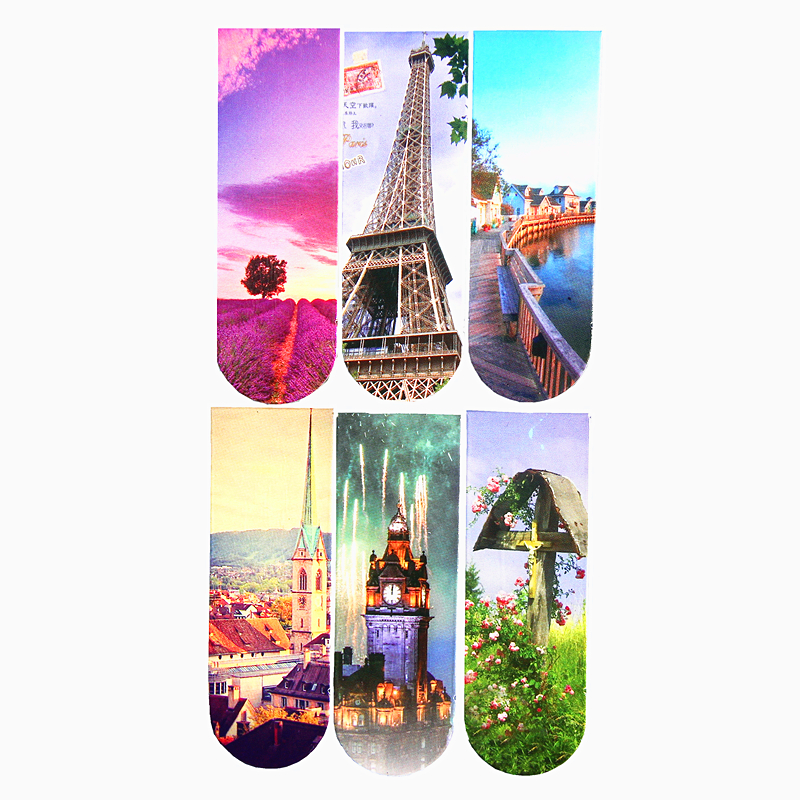 6pcs/set Landscap Scenery Eiffel Tower Magnetic Bookmark Book Bookmarks For Book Metal Bookmark Bookmarks Creative Supplies
