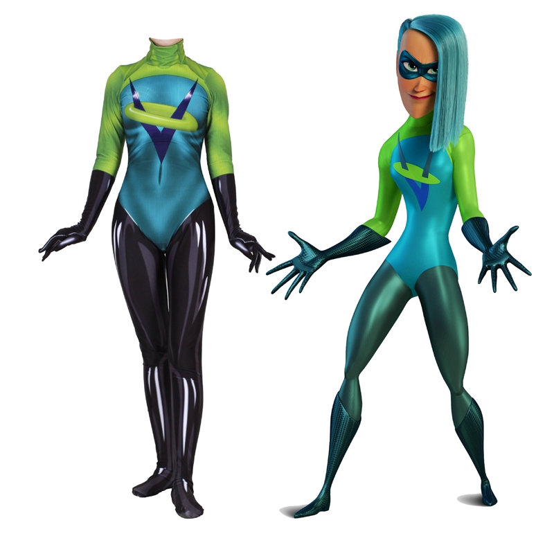 FOGIMOYA The Incredibles 2 Movie Women Kids Voyd Cosplay Costume Green Zentai Bodysuit Suit Jumpsuits