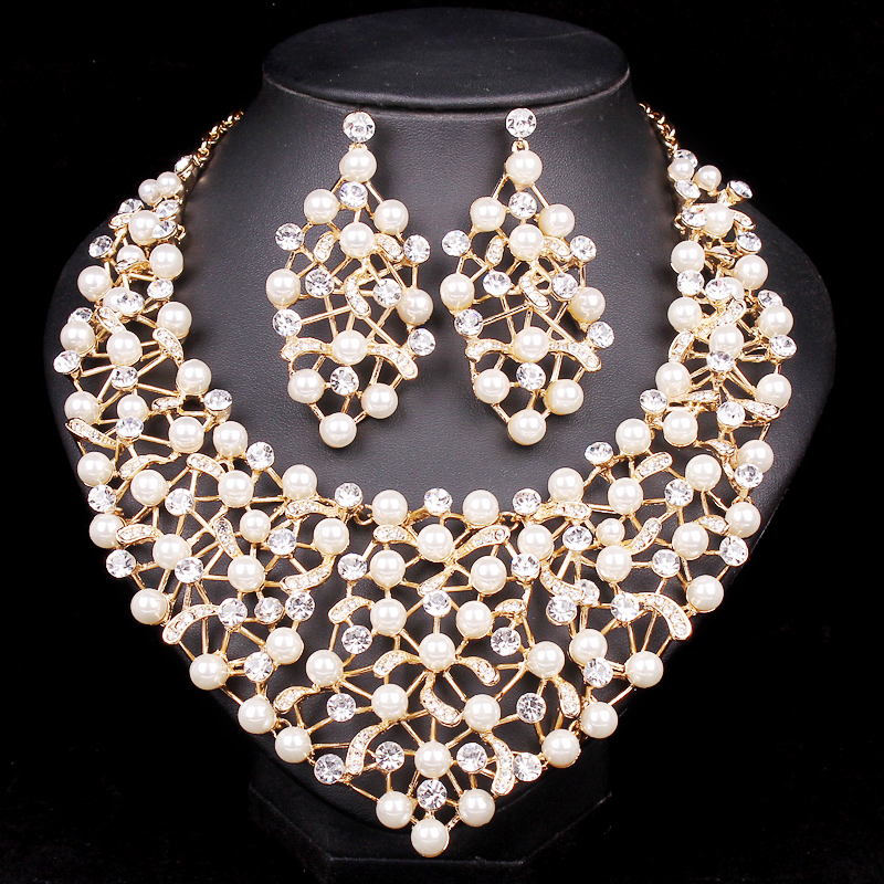 Aliexpress Com Buy New Fashion Necklace Earrings Bridal: Aliexpress.com : Buy Fashion Imitation Pearl Statement