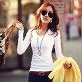 Novo 2016 outono inverno mulher senhora de algodão T-shirt básica ocasional sólidos t shirt tee top solto Com Decote Em V de moda de manga longa S ~ XXL