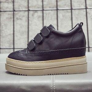 Image 5 - Swyivy Chaussures Lederen Casual Schoenen Vrouw Sneakers Femme 2019 Winter Platform Witte Sneakers Voor Vrouwen Haak Lus Dames Schoen