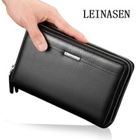 Men Clutch Bag Long Purse Leather Wallet Lichee Pattern Handbag Double Zippers Three Layers Male Bag