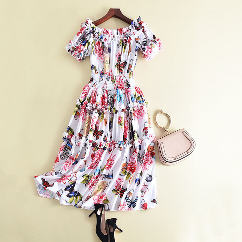 HIGH QUALITY New Fashion 2018 Designer Runway Dress Women's Short Sleeve Slash Neck Butterfly Printed Midi Dress
