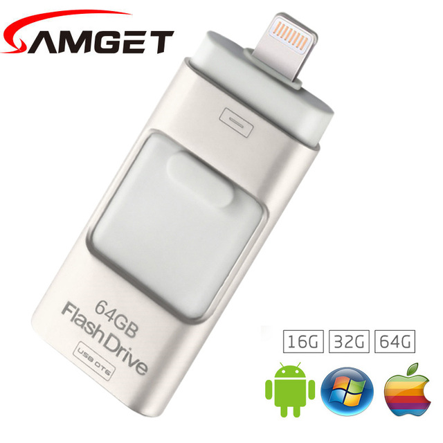 Samget usb 3.0 para iphone 6/plus/5s/7 puls/ipad metal pen drive hd tarjeta de Memoria Móvil de Doble Propósito OTG USB Flash Drive de 32 GB 64 GB