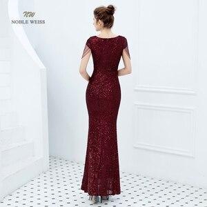 Image 2 - Evening Dresses Long Dark Red Prom Dress Sequin Women Dress Evening Party  Mermaid Dress Formal Dress Women Elegant